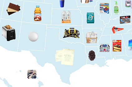 Partial Map of Most Purchased items at Walmart in Each State - via Business Insider